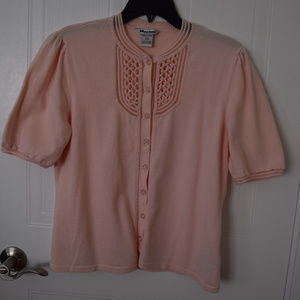 Nygard Soft Pink Short Sleeved Cardigan - Size L